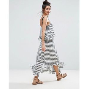 ASOS | Striped Ruffle Maxi Dress Grosgrain Straps